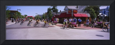 Spectators watching a bicycle race