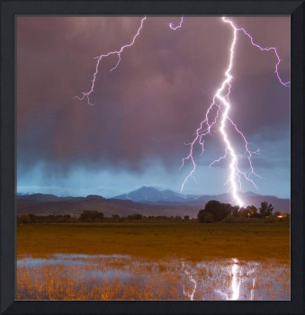 Lightning Striking Longs Peak Foothills 5 Crop