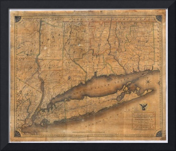 Vintage Map of Connecticut and Long Island (1815)