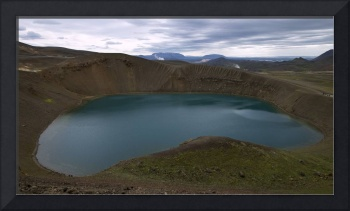 Picturesque Small Azure Lake in the Volcano Crater