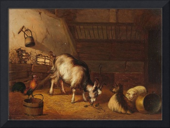 Frans van Severdonck, A Goat and Two Sheep in a St