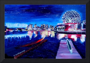 Vancouver skyline at starry night