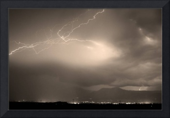 Lightning Striking Over Boulder Colorado Sepia