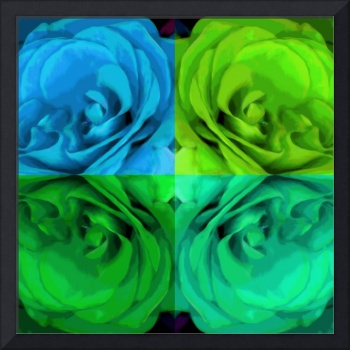 Majid 4x4 Roses blue green center rotated