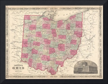 Vintage Map of Ohio (1864)