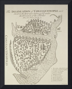 A map of Constantinople in 1422 (engraving)