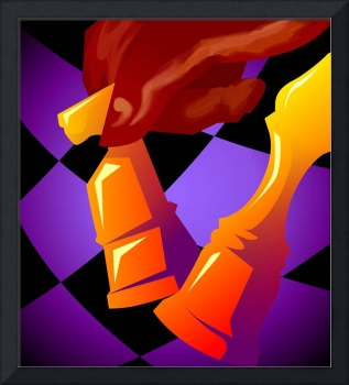 Digital painting of chess game