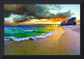 Green Seascape Beach Orange Sunset Fine Art Prints