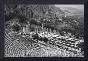 Temple of Apollo and Theatre, Delphi 1960 B&W