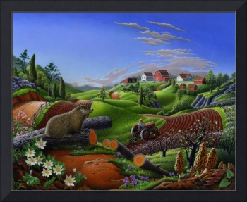 Country Farm Landscape folk art Spring Groundhog