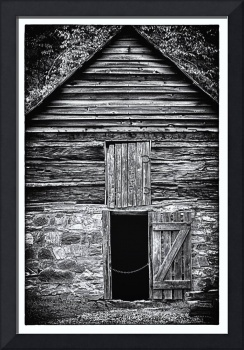 Stone and timber cabin - B&W HDR