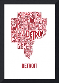 Detroit Typography Map Red