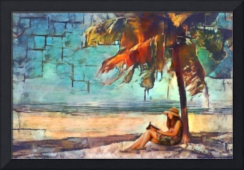 Abstract Beach with Girl