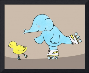 Elephant and Chick Like to Skate