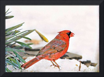 Mosaic Cardinal in March Snow