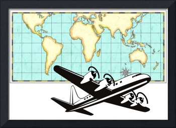 World Map Old Style and Airplane