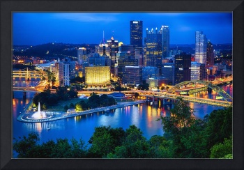 Pittsburgh Downtown Night Scenic View