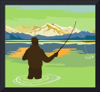Fly Fisherman Rod and Reel Retro