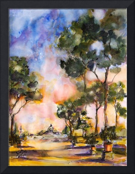 Strolling through Rome Italy Watercolor Painting