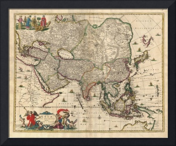 Vintage Map of Asia (1689)