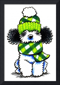 Parti Poodle in Scarf & Hat