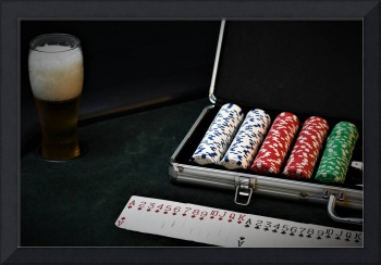 Set of Poker Chips With Cards and A Beer