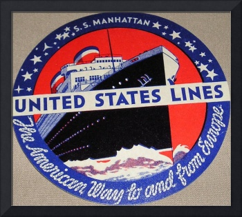 Vintage United States Lines Luggage Sticker