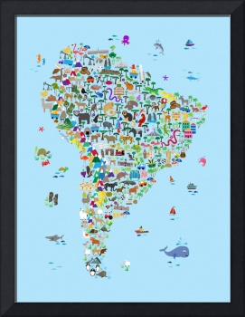 Animal Map of South America for children and kids