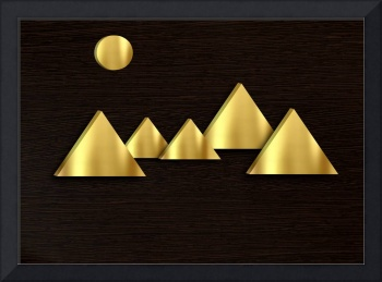 The magic of golden figures. Polished gold.