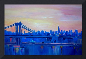 Blue Manhattan Skyline with Bridge and Vanilla Sky