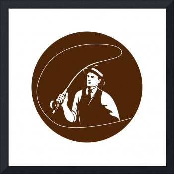 Mobster Gangster Fly Fisherman Circle Retro
