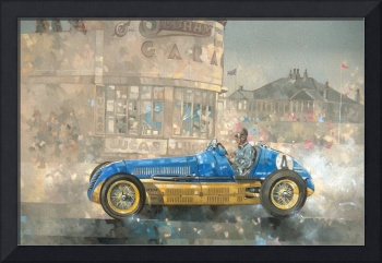 Blue and Yellow Maserati of Bira by Peter Miller