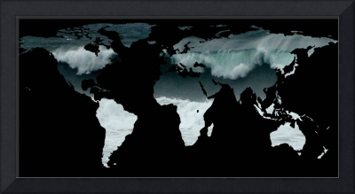 World Map Silhouette - Crashing Waves