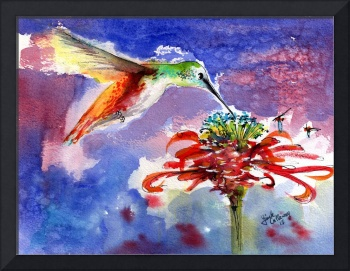 Hummingbird on Red Flower Watercolor