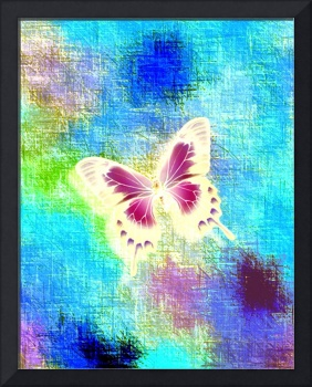 Glowing Violet, Yellow Butterfly On Blue Indigo Gr