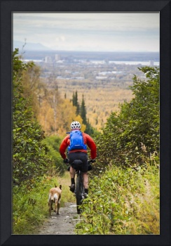 Man Mountain Biking With Dog Running Beside Him, A