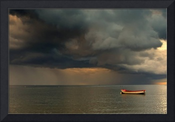 Dark Clouds And Lone Boat, North Sea, Sunderland,