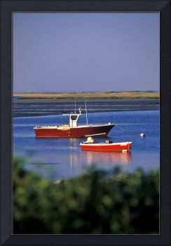 Lobster boat anchored in Nauset Harbor, Orleans, C