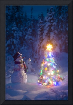 Snowman stands in a snowcovered spruce forest next
