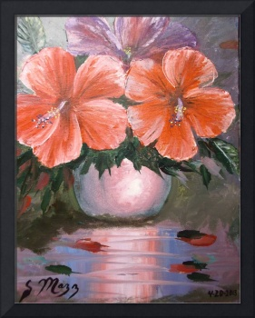 Hibiscus Flowers in Vase