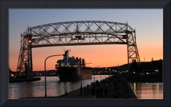 Duluth Aerial Lift Bridge At Night With Ship
