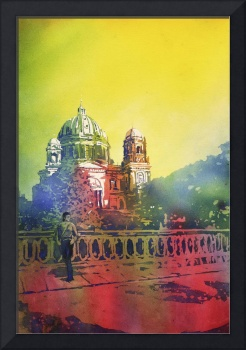 Watercolor painting of Cathedral in Berlin, German