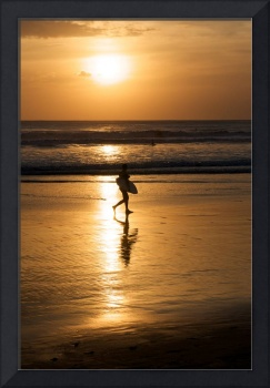 Bali Surfer at Sunset