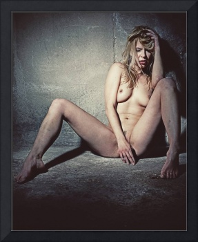 Naked Sexy woman in a dark dungeon. Image finished