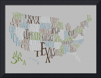 Gray Earth US Typography Map