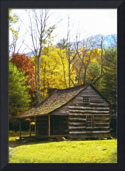 Log Cabin with Autumn Trees