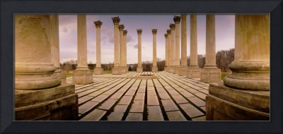 Walkway surrounded by freestanding columns