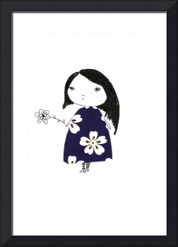 Little girl with a flower.