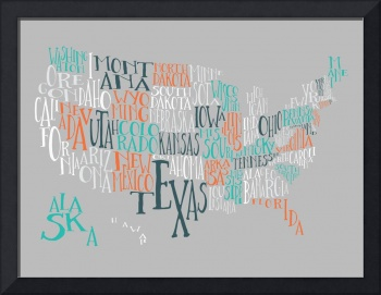 Orange Taffy US Typography Map