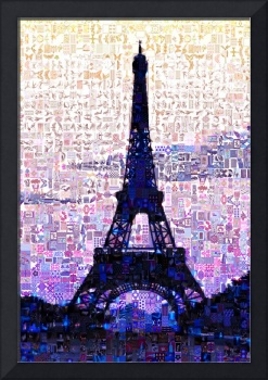 Eiffel Tower At Sunset Digital Mosaic